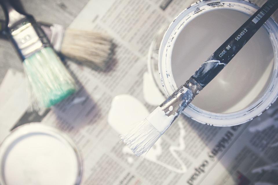 Pintura, Pinceles, Cubo, Lata De Pintura, Blanco